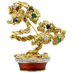 La Triomphe 18 Karat Gold, Diamond, Gemstone and Enamel Bonsai Tree Brooch Pin