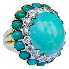 La Triomphe 18 Karat Yellow Gold, Turquoise and Diamond Dome Ring