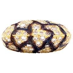 La Triomphe French Diamond Enamel 18 Karat Yellow Gold Ring