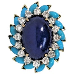 La Triomphe Large Scale Turquoise, Lapis Lazuli and Diamond Ring