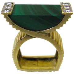La Triomphe Malachite and Diamond Ring, circa 1970