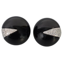 La Triomphe Onyx and Diamond Earrings