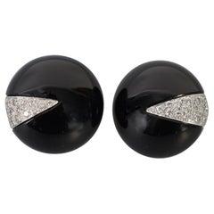 La Triomphe Onyx and Diamond Earrings
