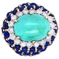 La Triomphe Turquoise Lapis and Diamond Ring