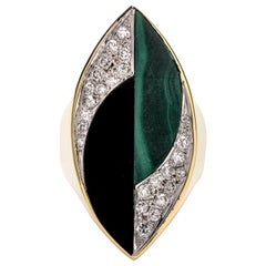 La Triomphe 1970s 18 Karat Gold Malachite Onyx Diamond Long Cocktail Ring