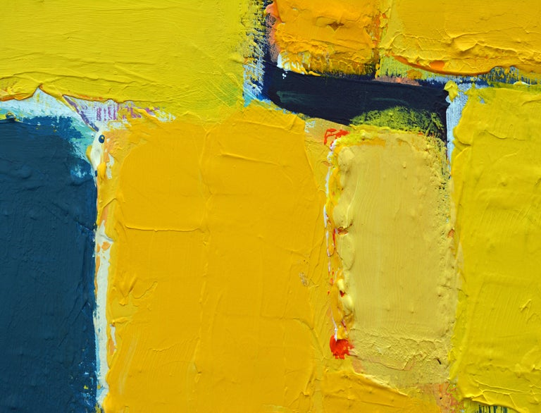 'La Ville Jaune' Original Abstract Painting by Lars Hegelund, 25 x 25 inches. For Sale 4