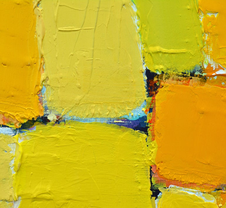'La Ville Jaune' Original Abstract Painting by Lars Hegelund, 25 x 25 inches. For Sale 5