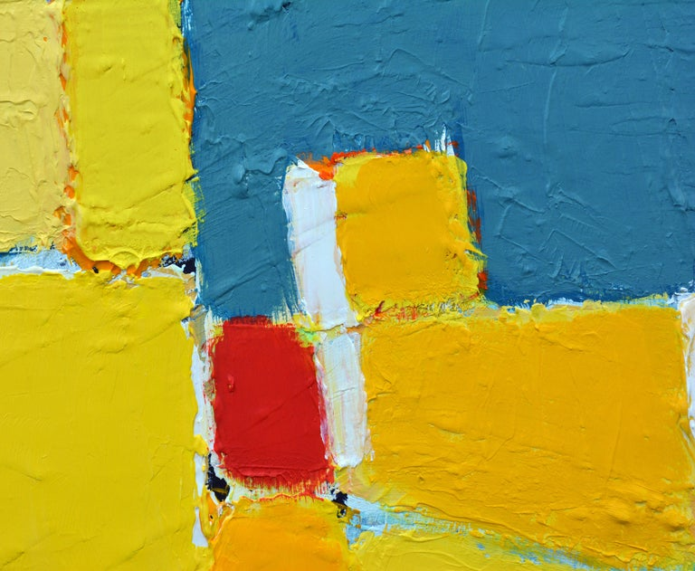 Modern 'La Ville Jaune' Original Abstract Painting by Lars Hegelund, 25 x 25 inches. For Sale