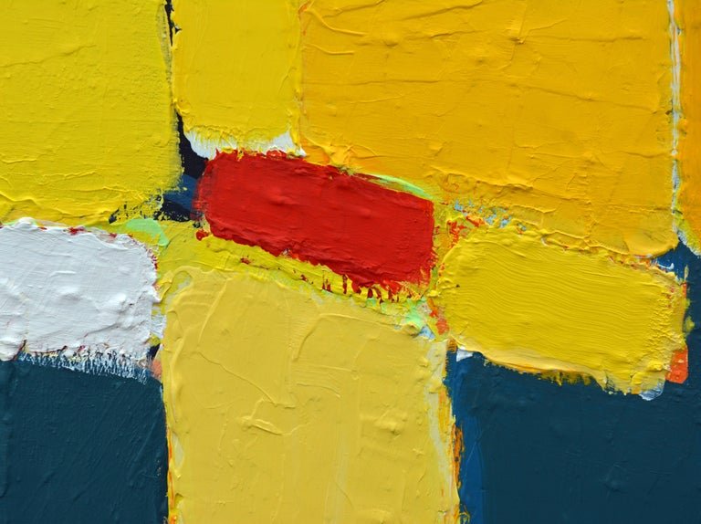 American 'La Ville Jaune' Original Abstract Painting by Lars Hegelund, 25 x 25 inches. For Sale