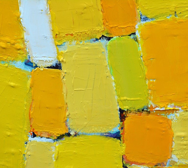 Contemporary 'La Ville Jaune' Original Abstract Painting by Lars Hegelund, 25 x 25 inches. For Sale
