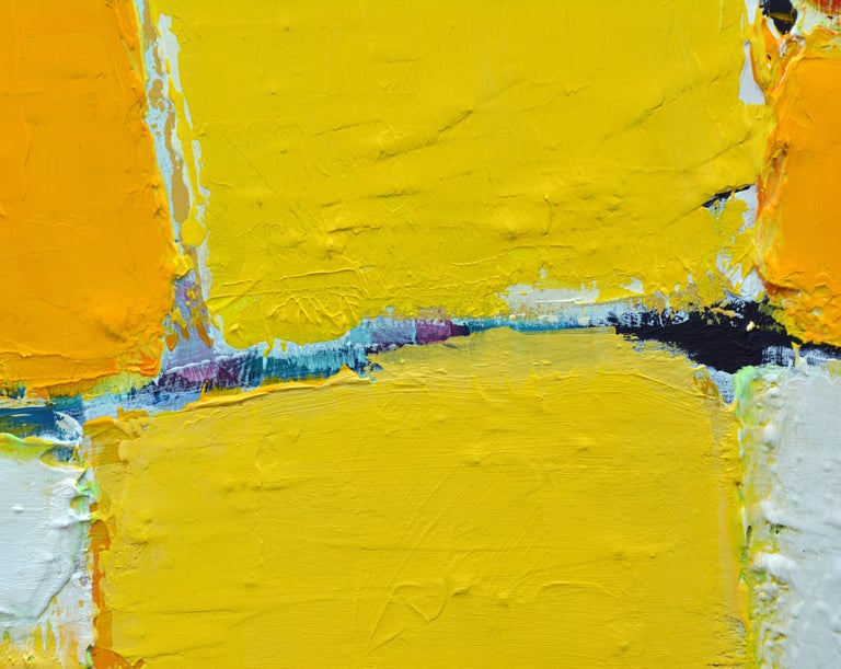 Aluminum 'La Ville Jaune' Original Abstract Painting by Lars Hegelund, 25 x 25 inches. For Sale