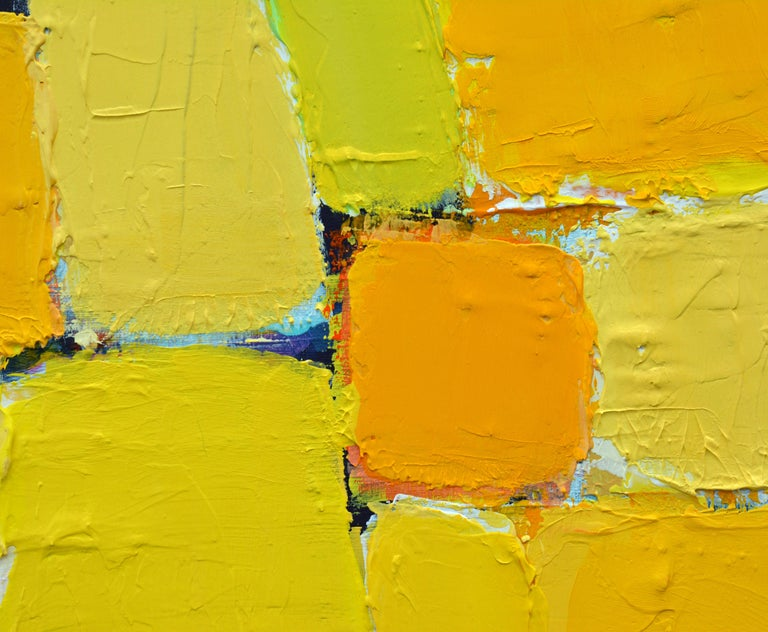 'La Ville Jaune' Original Abstract Painting by Lars Hegelund, 25 x 25 inches. For Sale 1