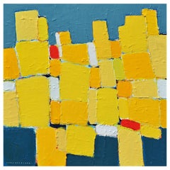 'La Ville Jaune' Original Abstract Painting by Lars Hegelund, 25 x 25 inches.