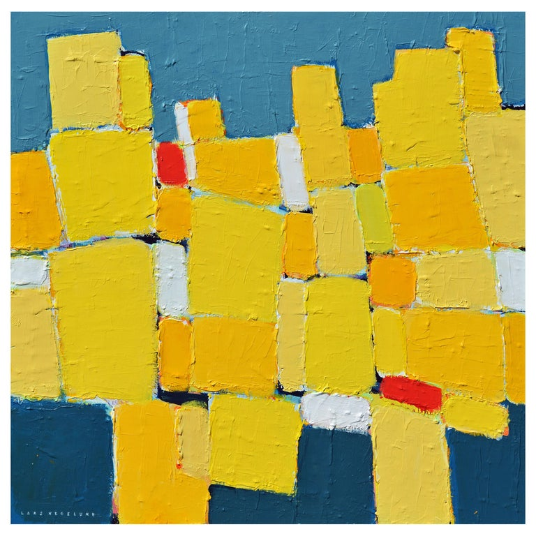 'La Ville Jaune' Original Abstract Painting by Lars Hegelund, 25 x 25 inches. For Sale