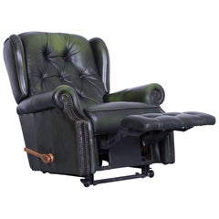 La-Z-Boy Chesterfield Leather Armchair Recliner Green