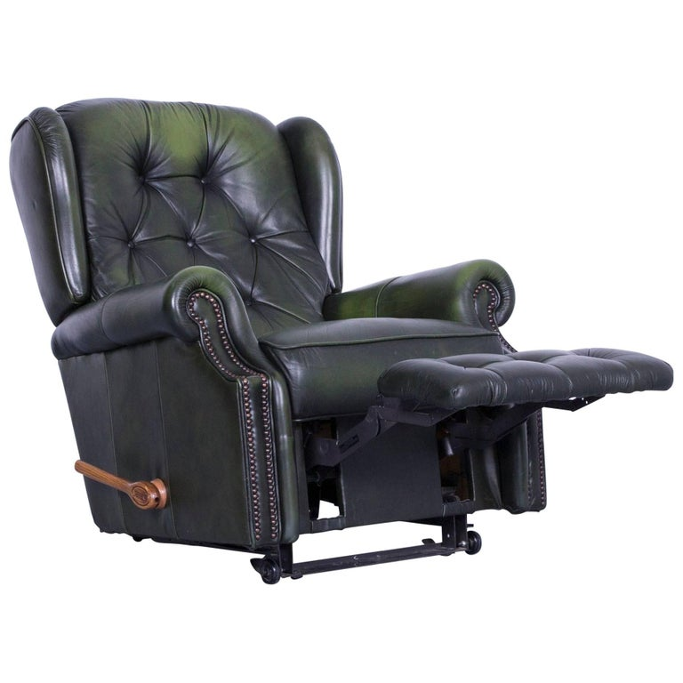 La-Z-Boy Chesterfield Leather Armchair Recliner Green at ...