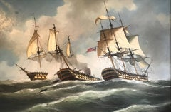 Enormous Signed Oil - Naval Battle Engagment Napoleonic Warships at Sea