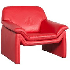Laauser Atlanta Designer Armchair Leather Red One-Seat Couch Modern