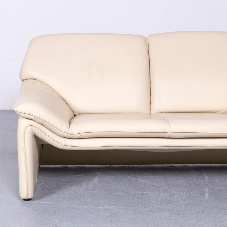 Laauser Atlanta Designer Leather Sofa Creme Two-Seat Couch