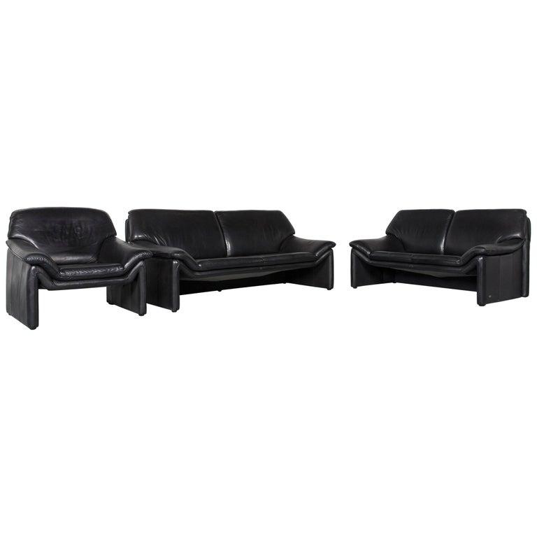 Laauser Atlanta Designer Sofa Armchair Set Leather Black Three-Seat Couch  Modern