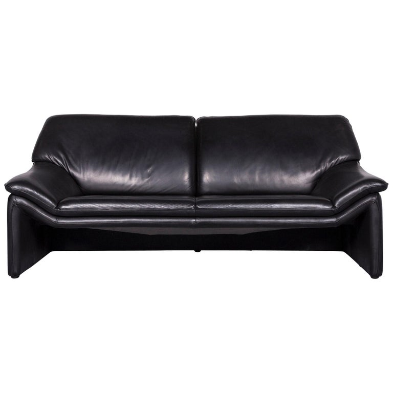 Laauser Atlanta Designer Sofa Leather Black Three-Seat Couch ...