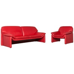 Laauser Atlanta Designer Sofa Leather Red Two-Seat Couch Modern