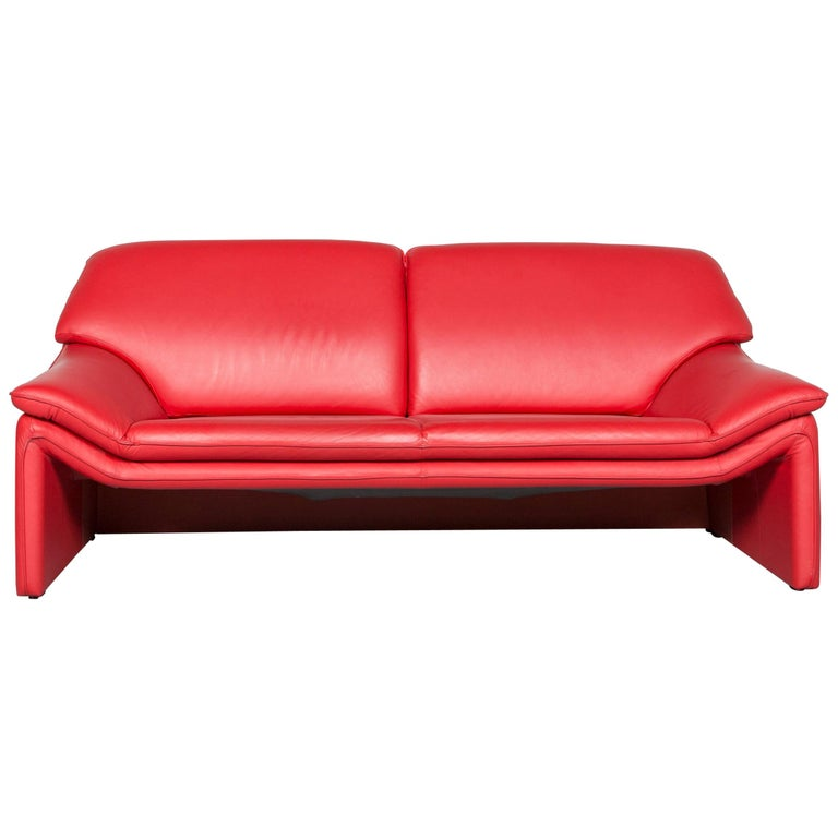 Laauser Atlanta Designer Sofa Leather Red Two-Seat Couch ...