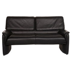 Laauser Carlos Leather Sofa Black Two-Seat Couch