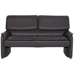 Laauser Carlos Leather Sofa Gray Two-Seat Function Couch