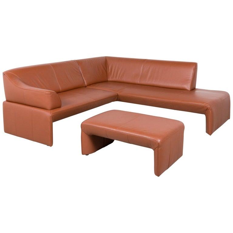 Laauser Designer Leather Corner Sofa Stool Set Brown Cognac Real Leather  Sofa