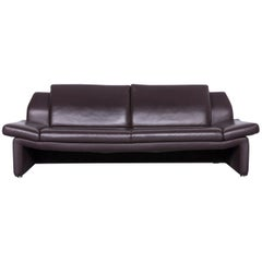 Laauser Designer Leather Sofa Brown Three-Seat Couch