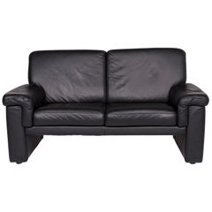 Laauser Leather Sofa Black Two-Seat Couch