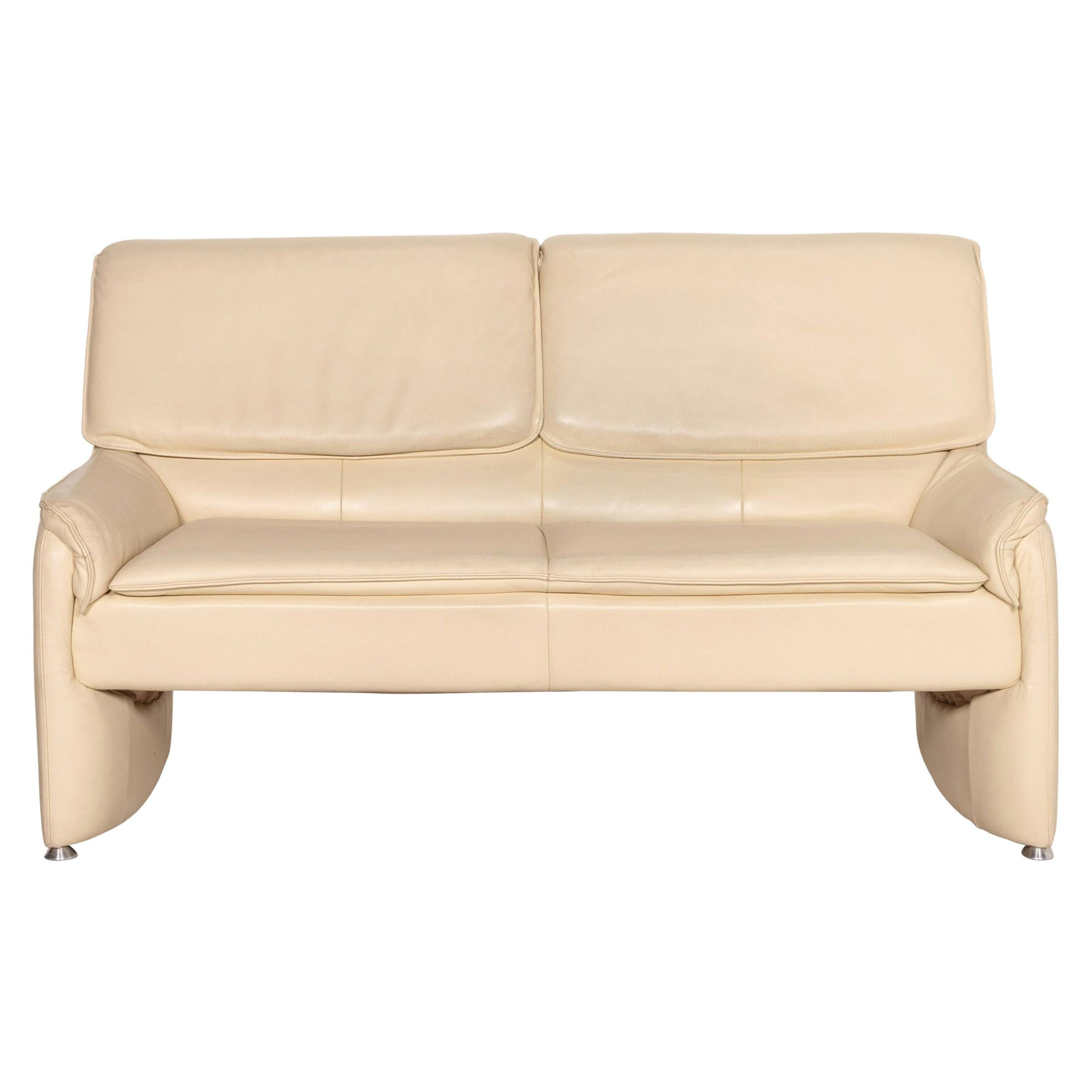 Laauser Leather Sofa Cream Two-Seater Function Couch