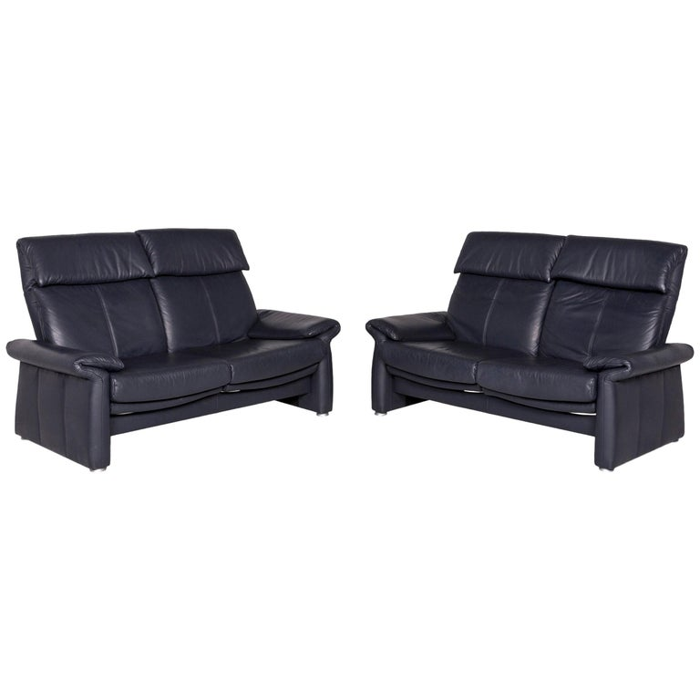 Laauser Leather Sofa Set Blue Two-Seat
