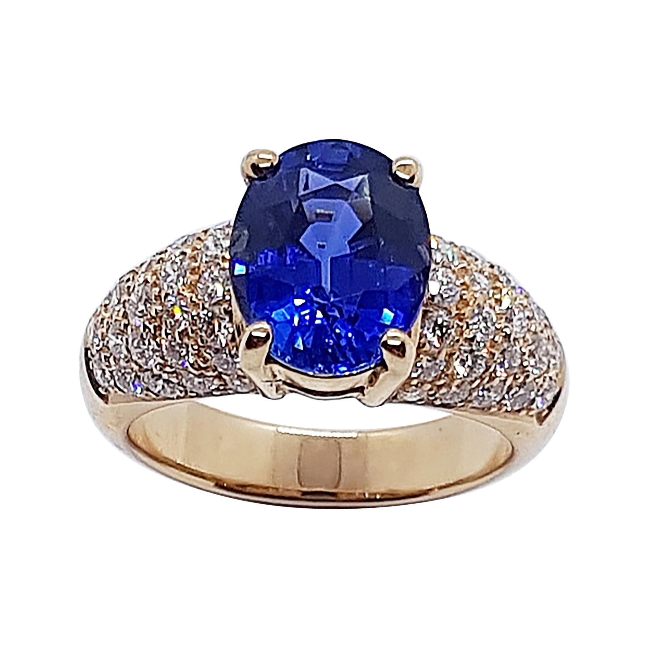 Certified Ceylon Blue Sapphire with Diamond Ring Set in 18 Karat Rose Gold