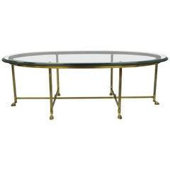 Labarge Brass & Glass Oval Italian Coffee Table Hoof Feet Hollywood Regency