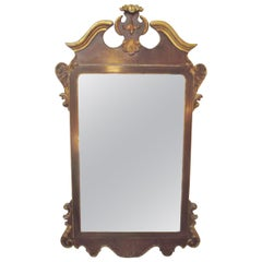LaBarge Burl Walnut and Distressed Gilt Georgian Style Mirror