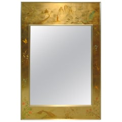 LaBarge Églomisé Reverse Painted Asian Style Gold Bevelled Wall Mirror