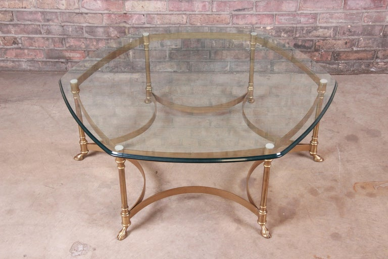 American Labarge Hollywood Regency Brass and Glass Hooved Feet Cocktail Table, 1960s For Sale