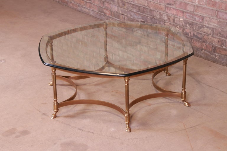 Beveled Labarge Hollywood Regency Brass and Glass Hooved Feet Cocktail Table, 1960s For Sale