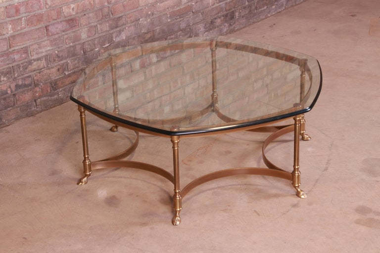 20th Century Labarge Hollywood Regency Brass and Glass Hooved Feet Cocktail Table, 1960s For Sale