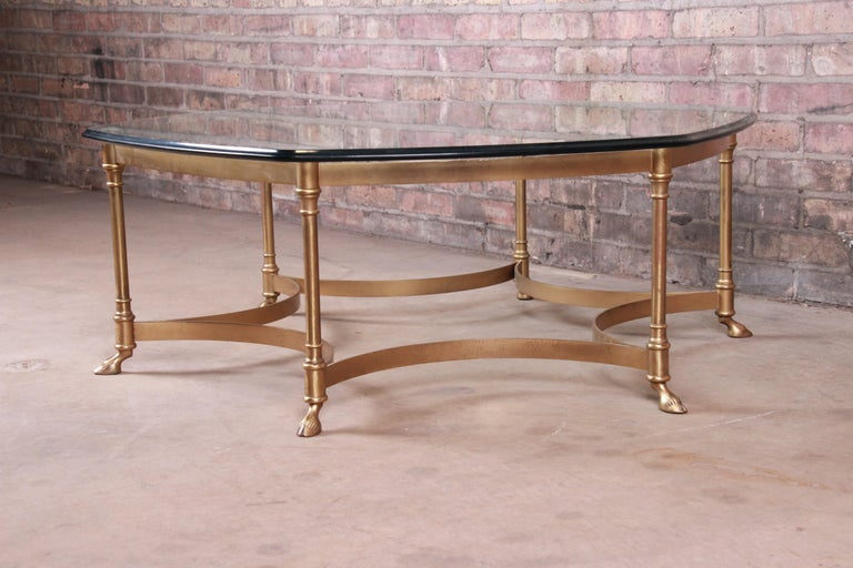 Labarge Hollywood Regency Brass and Glass Hooved Feet Cocktail Table, 1960s For Sale 1