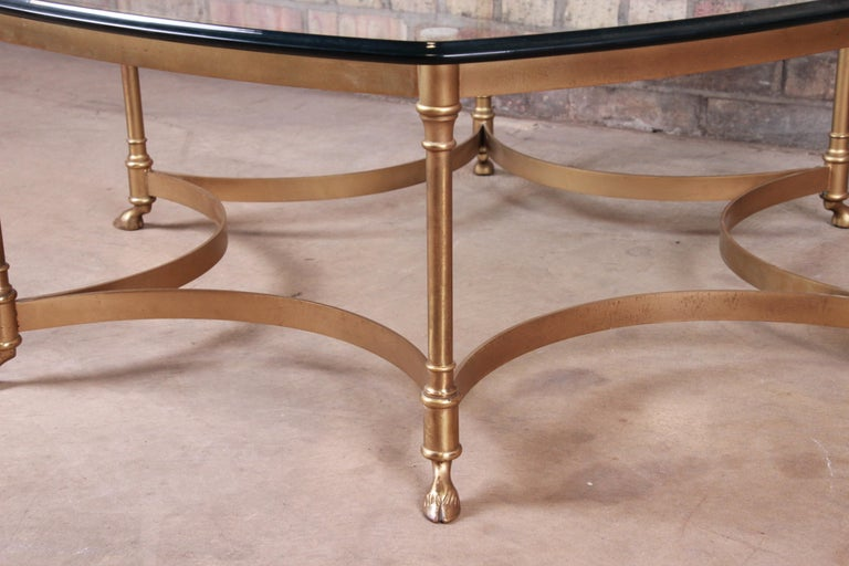 Labarge Hollywood Regency Brass and Glass Hooved Feet Cocktail Table, 1960s For Sale 2