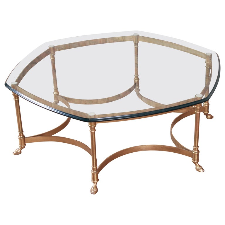 Labarge Hollywood Regency Brass and Glass Hooved Feet Cocktail Table, 1960s For Sale