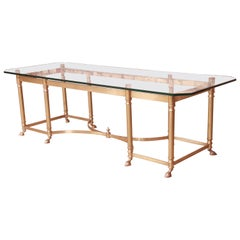Labarge Hollywood Regency Brass and Glass Hooved Feet Cocktail Table, 1960s