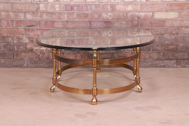 Labarge Hollywood Regency Brass and Glass Swan Motif Cocktail Table, Circa 1960s For Sale 6