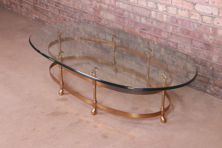 Mid-Century Modern Labarge Hollywood Regency Brass and Glass Swan Motif Cocktail Table, Circa 1960s For Sale