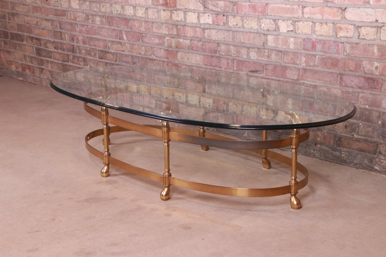 Labarge Hollywood Regency Brass and Glass Swan Motif Cocktail Table, Circa 1960s In Good Condition For Sale In South Bend, IN