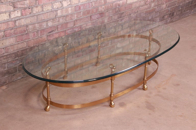 20th Century Labarge Hollywood Regency Brass and Glass Swan Motif Cocktail Table, Circa 1960s For Sale