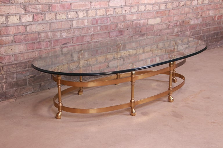 Labarge Hollywood Regency Brass and Glass Swan Motif Cocktail Table, Circa 1960s For Sale 1